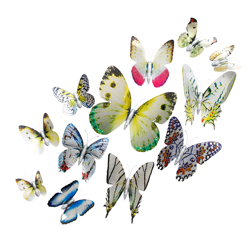 96 PCS Wall Decal Butterfly Silver Simulation Butterfly PCV Three-dimensional Wall Sticker