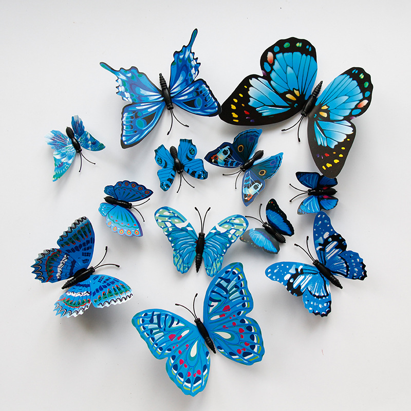 180 colorful 3D simulation butterflies, TV background wall decoration butterfly children's room PVC simulation butterfly