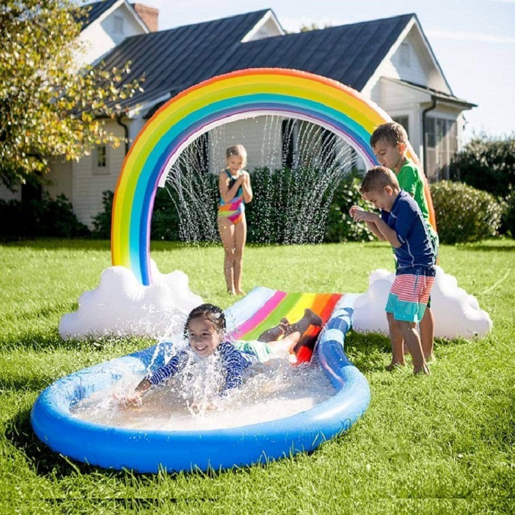 Rainbow Sprinkler Toys, Outdoor Inflatable Pools Summer Fun Spray Water Toy, Outside Backyard Family Water/Birthday Party Toy for Children Infants Toddlers,Boys