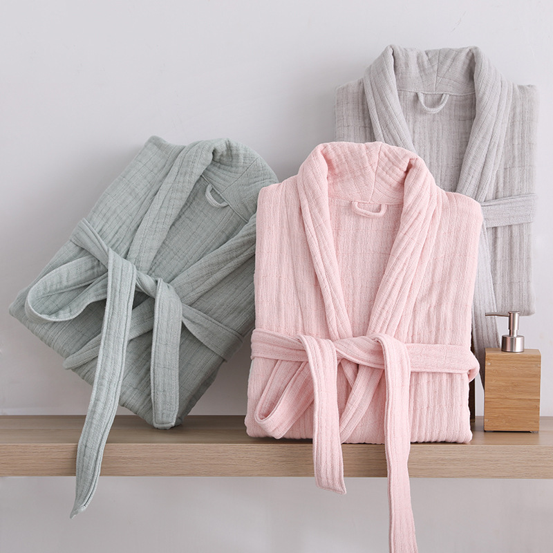 Long Section Of Home Service Bathrobes Soft Cotton Men And women Adult Autumn And Winter Yukata
