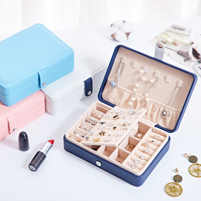 Tense PU Leather Jewelry Box for Women, 30 Compartments Jewelry Organizer Display, Jewelry Storage Case for Necklaces Bracelets Earrings Rings