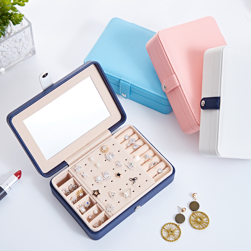 Jewelry Box Organizer for Earring Ring, Small Jewelry Storage Case with Mirror for Kids Girls Women