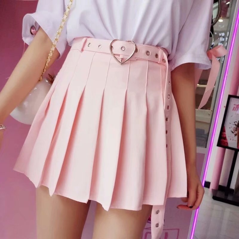 Women's half-length skirt belt decorated college wind pleated skirt short skirt