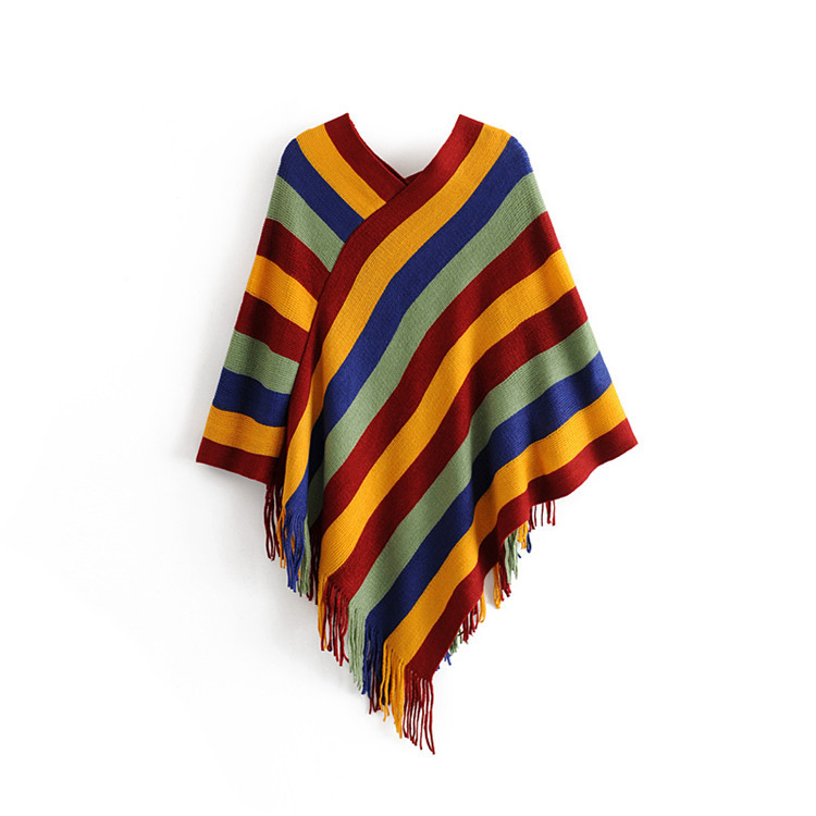 Women's V-neck Color Striped Fringed Shawl Loose Pullover