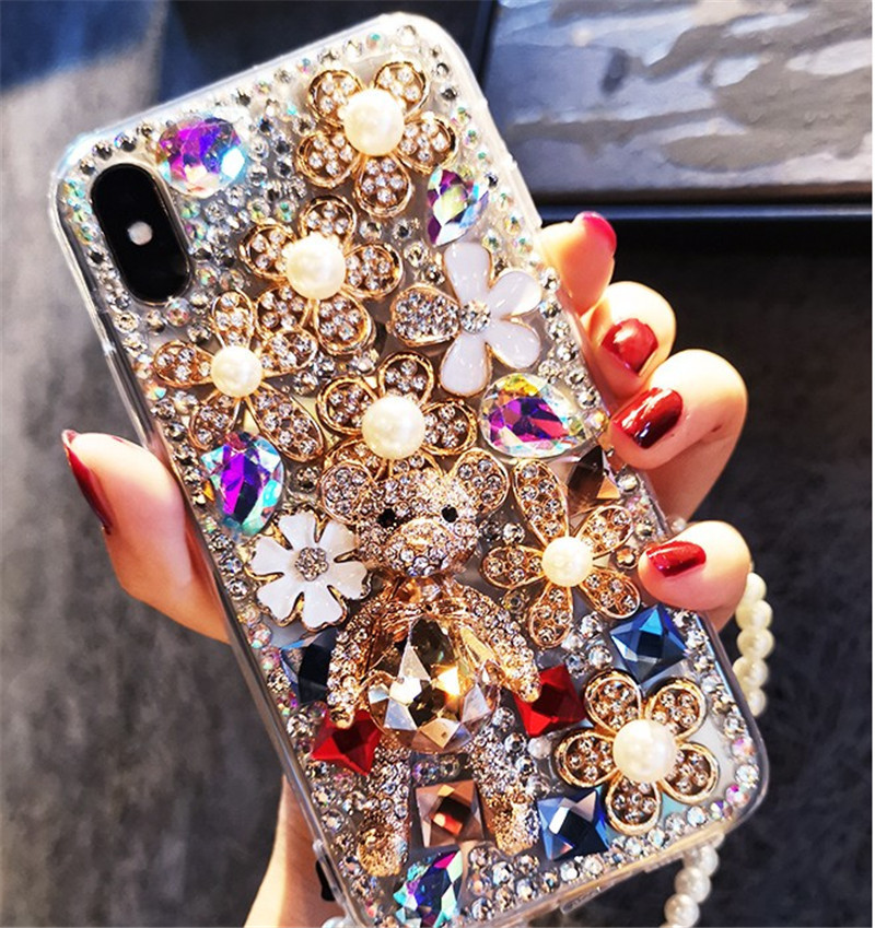 IPhone 11 mobile phone case 7/8 glitter iPhone7plus bear XR full diamond XR cover 11Pro max