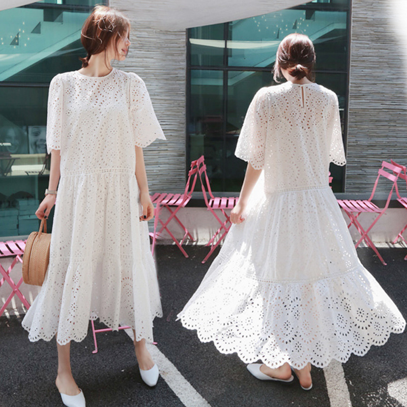 Women's Round neck Floral Lace Wedding Dress Short Sleeve Bridesmaid Evening Party Maxi Dress Maternity Lace Dress