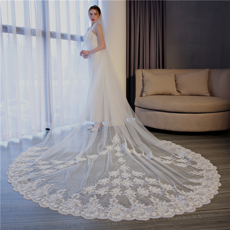 Ivory Lace Edge Cathedral Length Wedding Bridal Veil+Comb