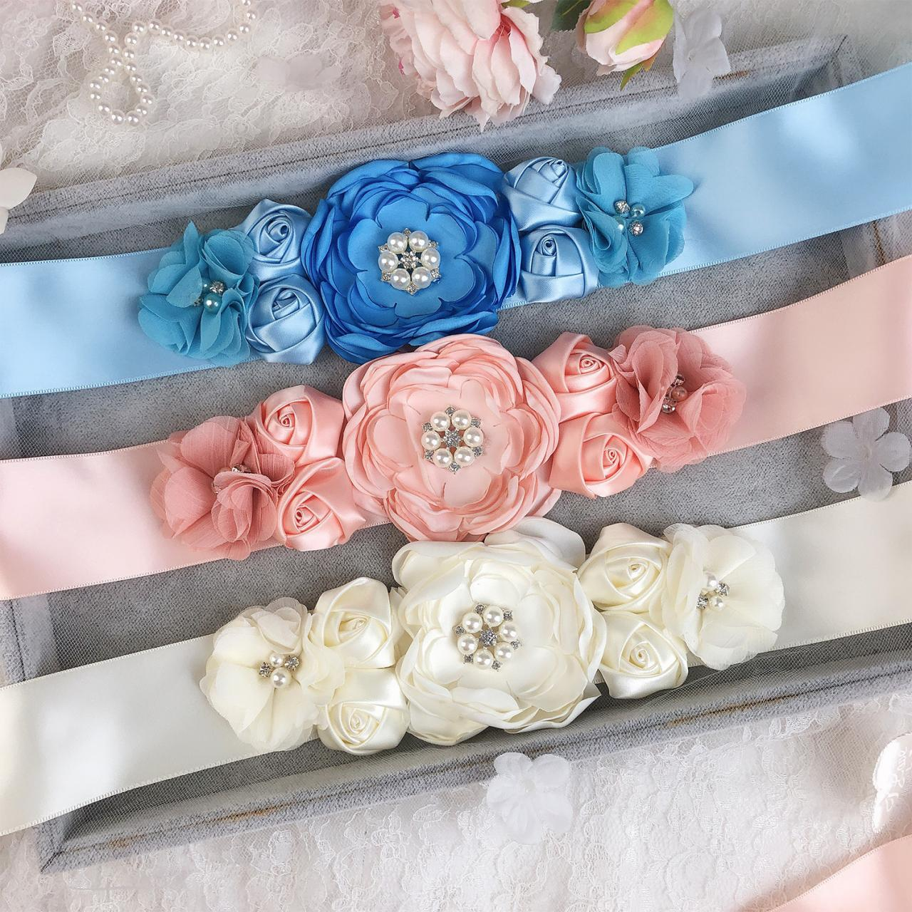 Sash Belt with Flowers Pearls Rhinestone for Wedding Bride/Baby Shower Dress