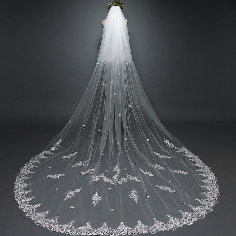 White Ivory Lace Edge Cathedral Length Wedding Bridal Veil+Comb