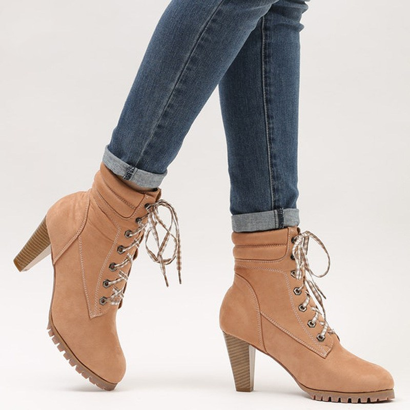 Women Autumn Round Toe Lace Up Chunky High Heel Platform Knight Martin Boots