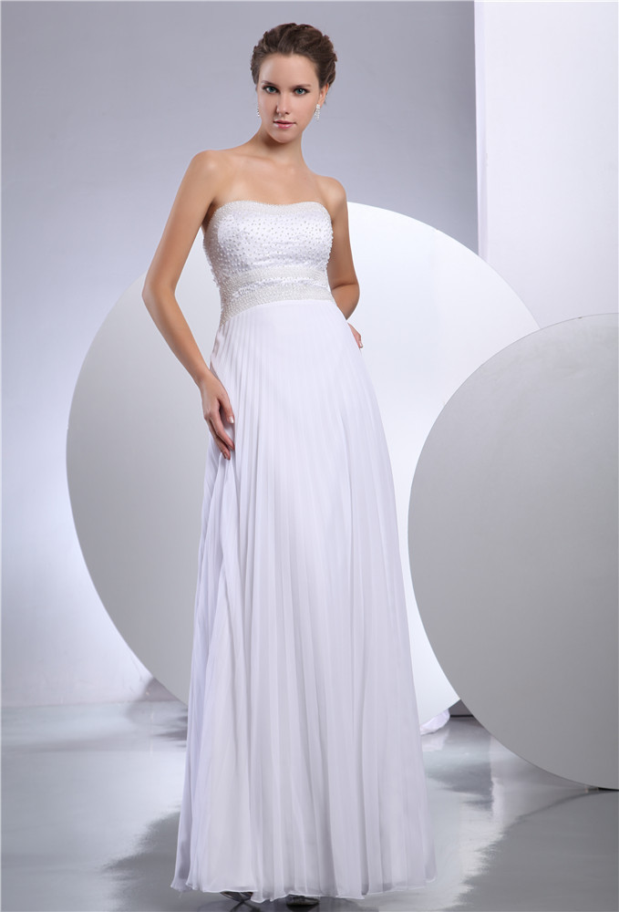 Women white chiffon wedding dress bridesmaid dress
