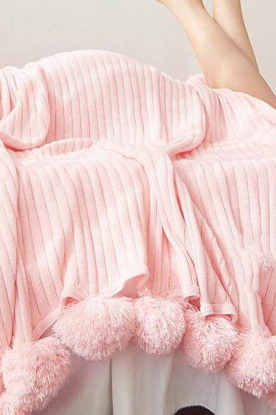 "100% Cotton Hypoallergenic Striped Cable Knitted Throw Blanket Pompoms Fringe Solid (60""X79"", pink)"