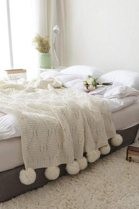 Pom Pom Knit Throw Blanket, 100% Cotton Soft Cable Knitted Blanket for Sofa and Couch(Ivory, 51'x63')