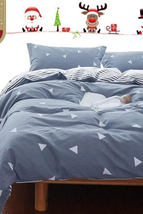 Bedding Queen Duvet Cover Set Blue Gray & Triangles 4 Pieces Hypoallergenic Modern Sheets quilt