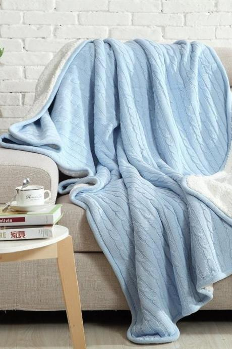 Luxury Cable Sweater Knitting Throw Blanket Quilt Throw with Sherpa Lining Sky Blue 59x79 Inch
