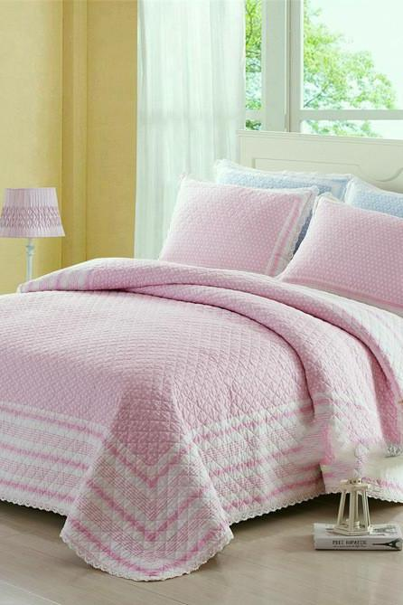 3 Piece Quilt Bedspread Coverlet Set,Bedspread Quilt Soft Microfiber Lightweight Coverlet Bedspread for All Season (pink)Quilted wash