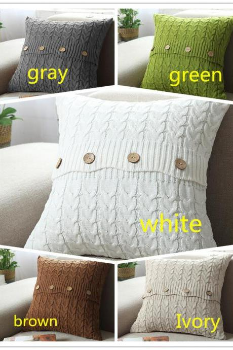 Cotton Cable Knitted Pillow Case Cushion Cover Decorative Knitting Patterns Square Warm Throw Pillow Covers(White, 18x18)