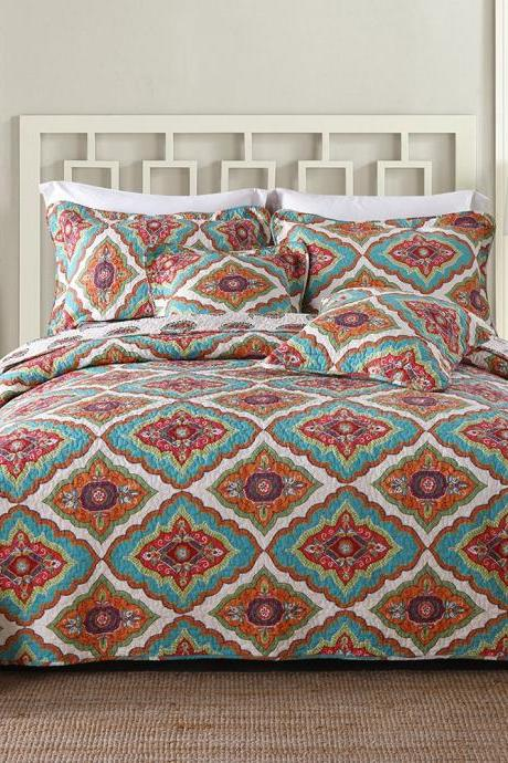 Microfiber Quilt Bedspread Reversible Coverlet Sets, Classic Floral Checkered Pattern,Queen Size