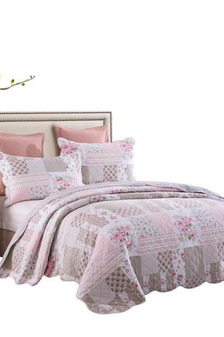 Girls Rose Comforter Set Full Size Lightweight Shabby Cottage Chic Bedding Quilt Coverlet Set Cotton Queen Size