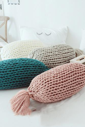 Cotton Knitted Decorative Pillow Knitting Patterns Candy Shape with Insert Warm Throw Pillow ( Grey, 25.5x13)