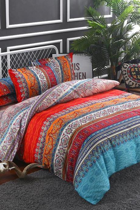 100% Cotton 3-Piece Paisley Boho Queen Size Quilt Set/Bedspread- Lightweight, Reversible& Decorative