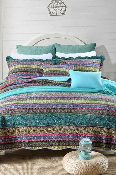 Striped Jacquard Style Cotton 3-Piece Patchwork Bedspread Quilt Sets, King Size