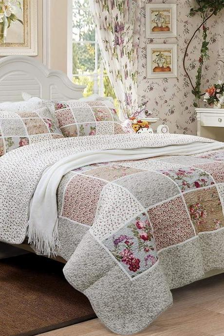 Queen Size Farmhouse Bedding Vintage Bedding Sets Girls Patchwork Quilted Bedspread Cotton Quilts Set Cotton