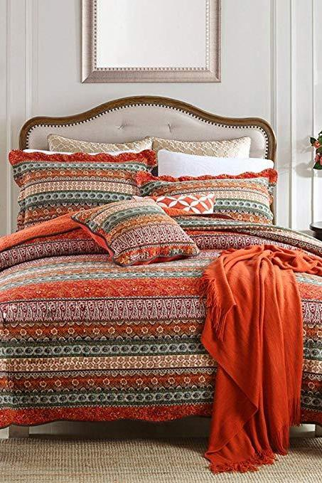 Striped Classical Cotton 3-Piece Patchwork Bedspread Quilt Sets, King Size