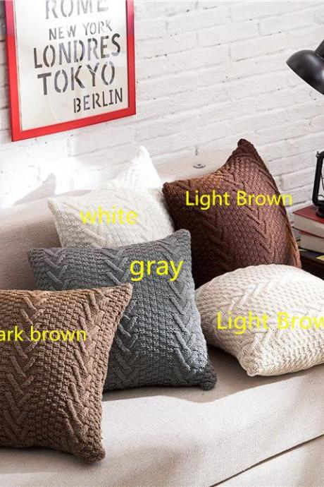 "Decorative Cotton Knitted Pillow Case Cushion Cover Double-Cable Warm Throw Pillow Covers for Bed Couch 18"" X 18"" ( gray)"