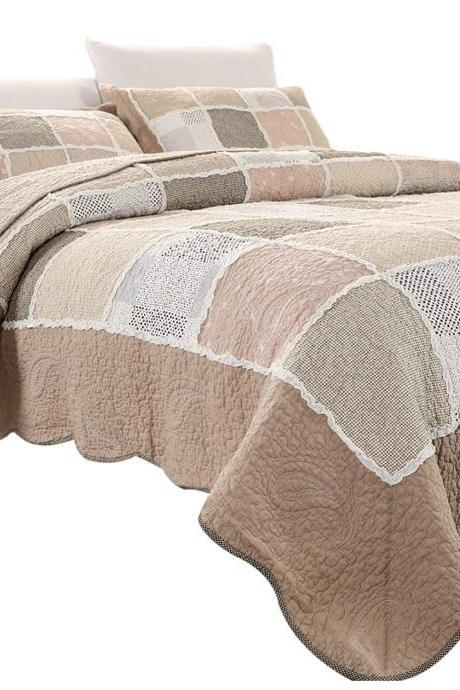 "Queen Size Vintage Patchwork Bedding Set Elegant Cotton Quilt Set(90''x98"")"