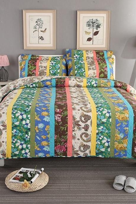 100% Cotton 3-Piece Multicolored Boho Full/Queen Size Quilt Set as Bedspread/Coverlet/Bed Cover- Lightweight, Reversible& Decorative
