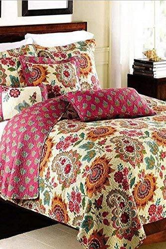Best Bedding Sets 3 Pieces Cotton Printed Floral Patchwork Bedspread Quilt Sets (King)
