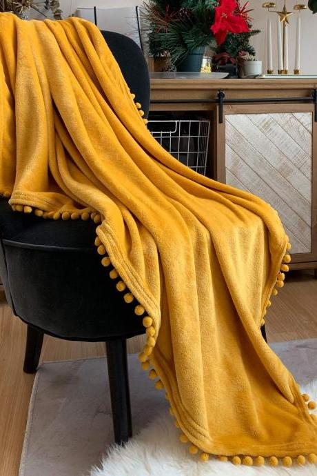 Flannel Blanket with Pompom Fringe Lightweight Cozy Bed Blanket Soft Throw Blanket fit Couch Sofa Suitable for All Season (90x78) (Mustard Yellow)