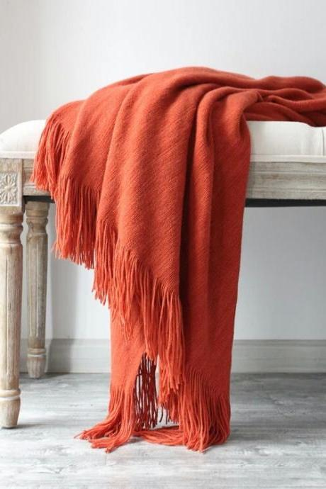 "Textured Knitted Super Soft Throw Blanket with Tassels Warm Cozy Plush Lightweight Fluffy Woven Blanket (51""x78"")"