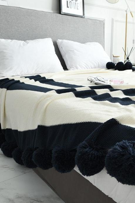 "Pom Pom Throw Blanket, 100% Cotton Knitted Throw Blanket for Sofa Bed Couch Office Super Soft Knitted Blanket (Off-White, 51""x63"")"