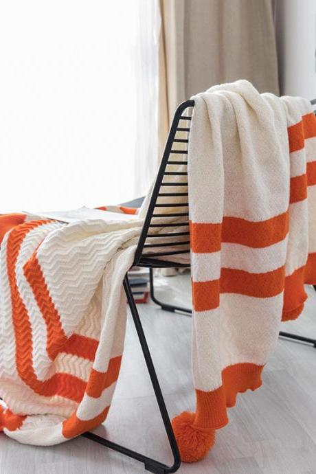 "Pom Pom Knit Throw Blanket, 100% Cotton Soft Cable Knitted Blanket for Sofa and Couch(Orange, 51""x67"")"