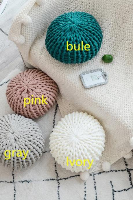 Creative Round Futon Pillow Nordic Design Handmade Coarse Wool Sofa Cushion Cushion Solid Color Pillow (40x40cm)