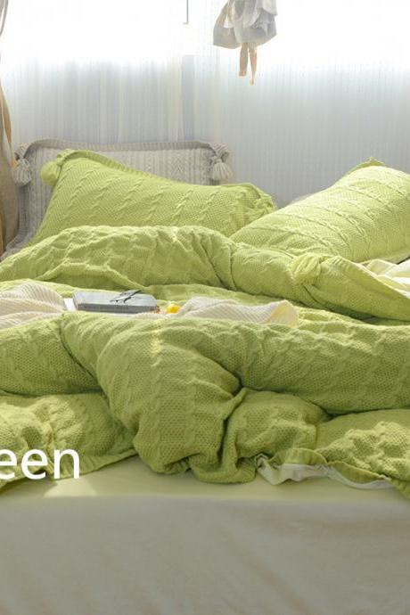 Cable Knit Bedding Set Stylish Duvet Cover Set with Tassels Decoration Lightweight and Cozy Warm, Zipper Closure (green, Queen)