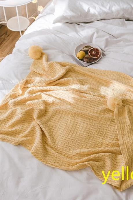 "Pom Pom Knit Throw Blanket, 100% Cotton Soft Cable Knitted Blanket for Sofa and Couch(yellow, 51""x67"")"
