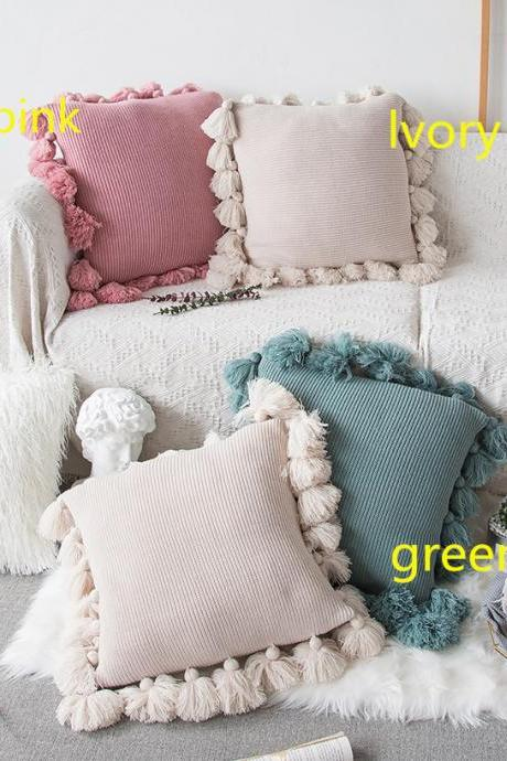 Total-Shop Cushion Cases Cover for Sofa-Handmade Knitted Decorative Square Warm Throw Pillow Cover/Cushion Cover with Pom Pom Lantern Tassels,18x18in
