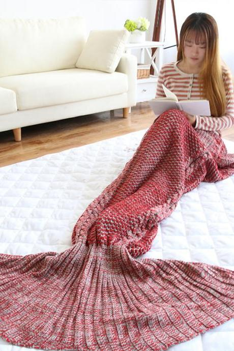 Mermaid Tail Blanket Crochet Mermaid Blanket for Adult, Soft All Seasons Sleeping Blankets