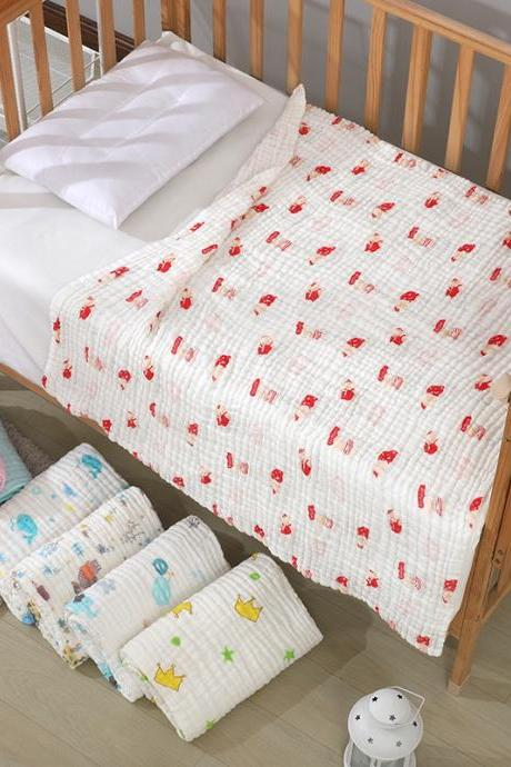 Baby Blanket/Bath Towel 100% Cotton Super Soft Gauze, Natural Absorbent Muslin 6 Layer Warm 43.3 X 43.3 inch