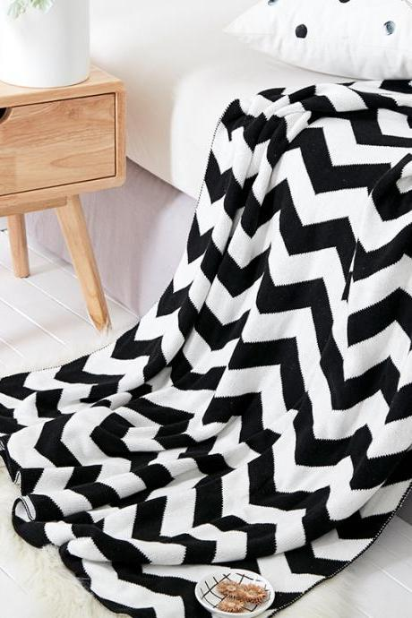 100% Cotton blue Throw Blanket for Couch Bed Sofa Chair, Black White Stripe Reversible Decorative Knitted Blankets,51'x 63' Size