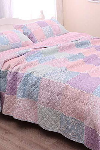 Queen Size Patchwork Quilt Bedspread Set Cotton Pink Purple Country Farmhouse Comforter Set