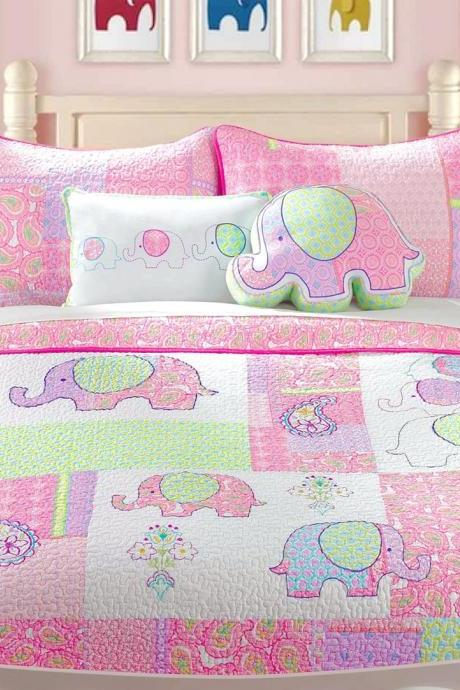 Cozy Line Home Fashions Pink Embroidered Elephant Tales 100% Cotton Reversible Quilt Bedding Set, Coverlet, Bedspreads (Full/Queen - 3 Piece: 1 Quilt + 2pillow case)