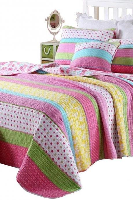 Queen Size Kids Girls Comforter Quilt Sets 3 Pieces, Pink Dot Striped Comfy Cotton Girls Bedspread, Pretty Girls Bedding Set