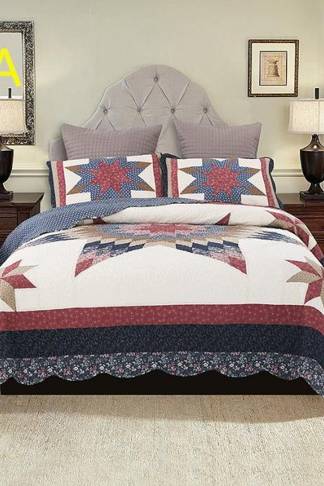 Bedsure 3-Piece Printed Quilt Set Queen/Full Size (118x102 inches), Lightweight Coverlet Design for Spring and Summer, 1 Quilt and 2 Pillow Shams