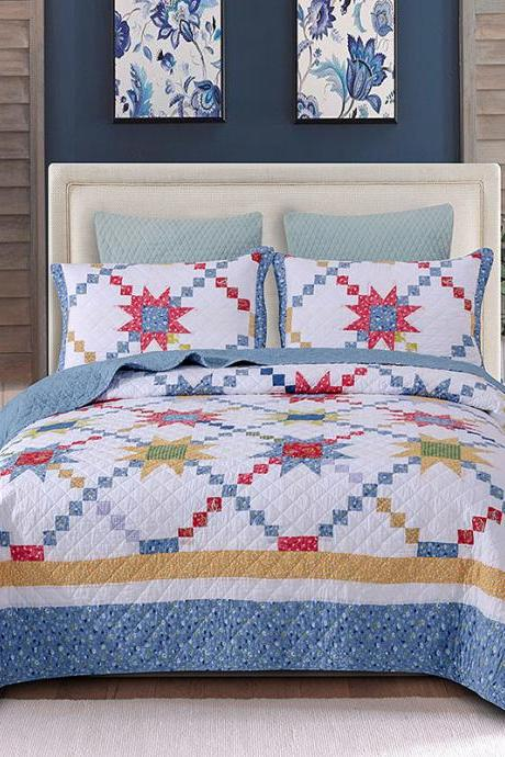 Bedsure 3-Piece Printed Quilt Set Queen/Full Size (96x106 inches), Lightweight Coverlet Design for Spring and Summer, 1 Quilt and 2 Pillow Shams