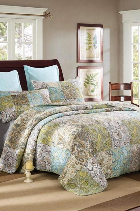 Bedsure 3-Piece Printed Quilt Set Queen/Full Size (90x98 inches), Lightweight Coverlet Design for Spring and Summer, 1 Quilt and 2 Pillow Shams