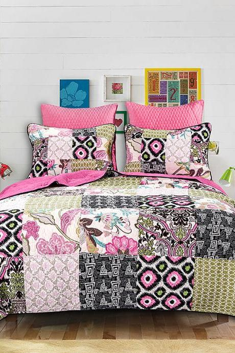 Bedsure 3-Piece Printed Quilt Set Queen/Full Size (90x106 inches), Lightweight Coverlet Design for Spring and Summer, 1 Quilt and 2 Pillow Shams